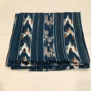 Cotton Square Teal Chevron Scarf Tichel Hijab